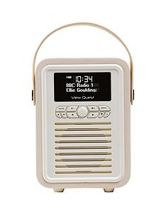 view-quest-retro-mini-radio-alarm-clock-cream