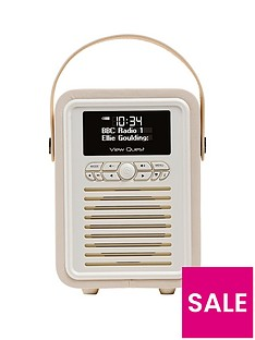 view-quest-retro-mini-radio-alarm-clock-cream