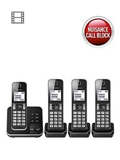 panasonic-kx-tgd324eb-cordless-telephone-with-answering-machine-and-nuisance-call-block-quad-pack-black