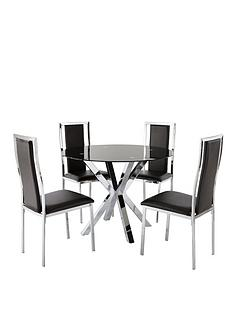 chopstick-100-cm-round-glass-dining-table-4-atlantic-chairs-black