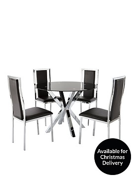 chopstick-100-cm-round-glass-dining-table-4-atlantic-chairs-black