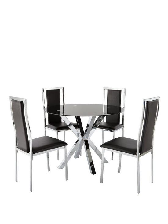 Chopstick 100 Cm Round Glass Dining Table 4 Atlantic Chairs