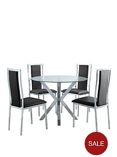 chopstick-chrome-and-glass-round-dining-table-4-atlantic-chairs-clearblack-buy-and-save