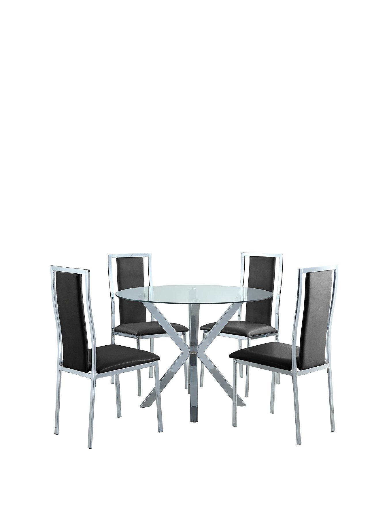 chopstick 100 cm round glass dining table 4 atlantic chairs clearblack