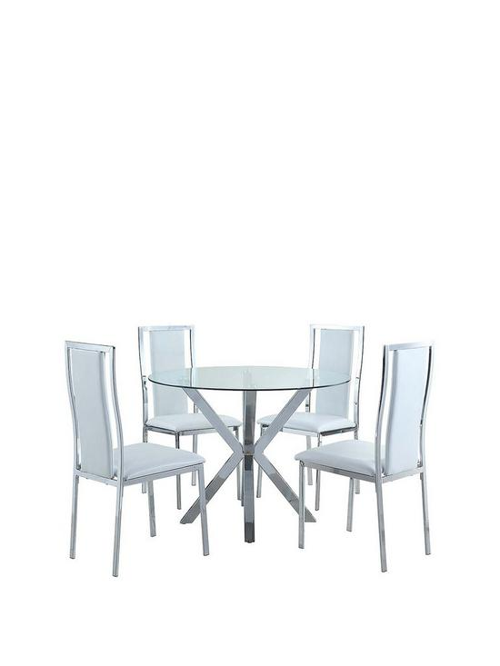 chopstick 100 cm round glass dining table 4 atlantic chairs rh very co uk