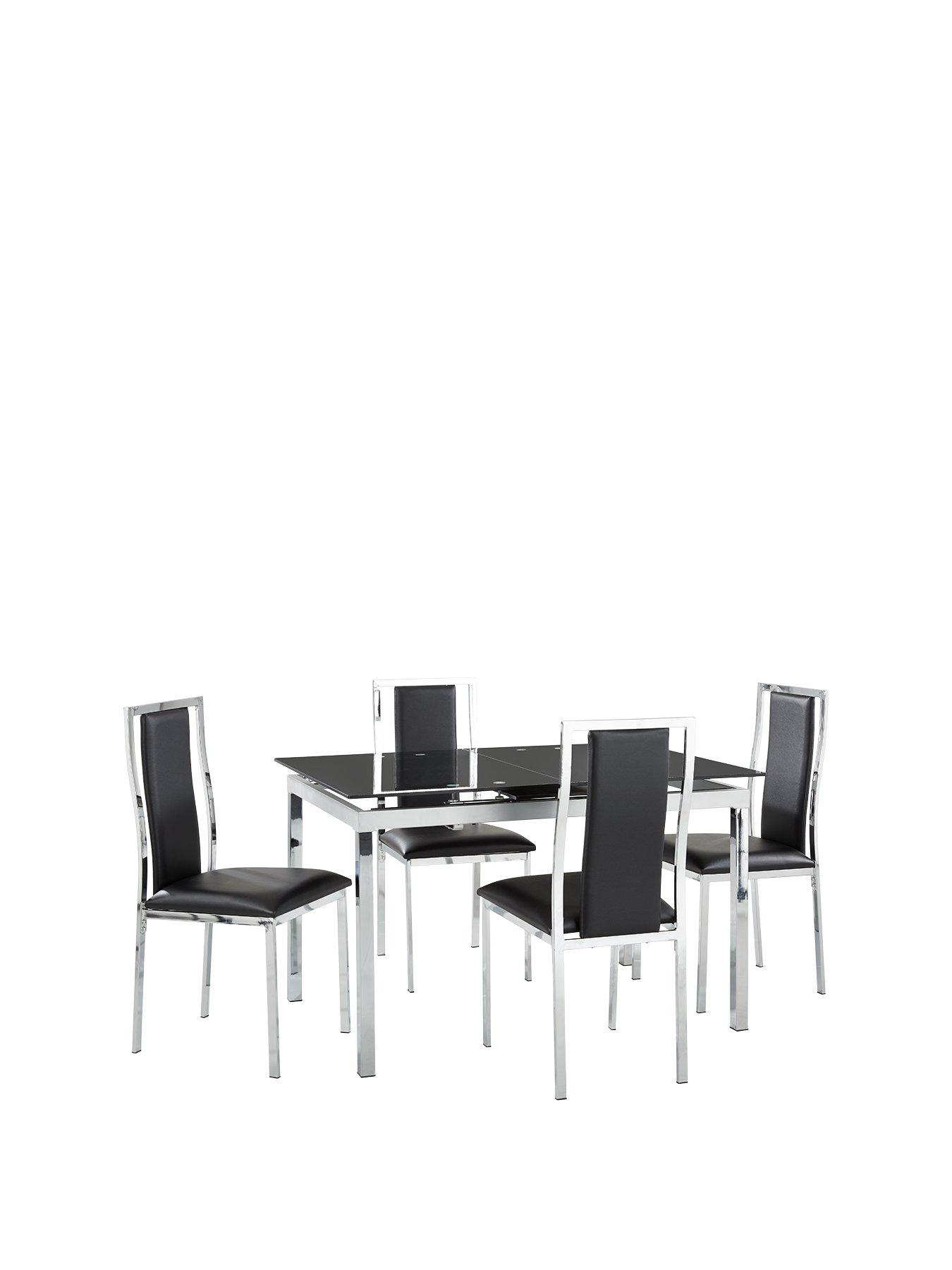 Glide Glass And Chrome 120 150 Cm Extending Dining Table + 4 Atlantic Chairs    Black