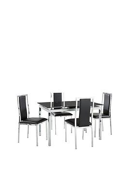 glide-glass-and-chrome-extending-dining-table-4-atlantic-chairs-black