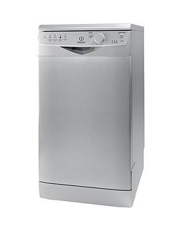 indesit-dsr15bs-10-place-slimline-dishwasher-silver