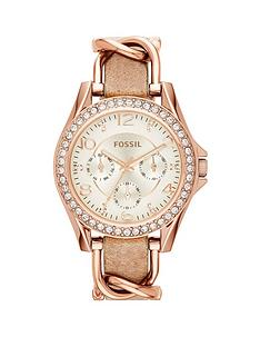 fossil-riley-leather-ladies-watch