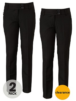 top-class-girls-teflon-coated-tapered-zip-pocket-trousers-2-pack