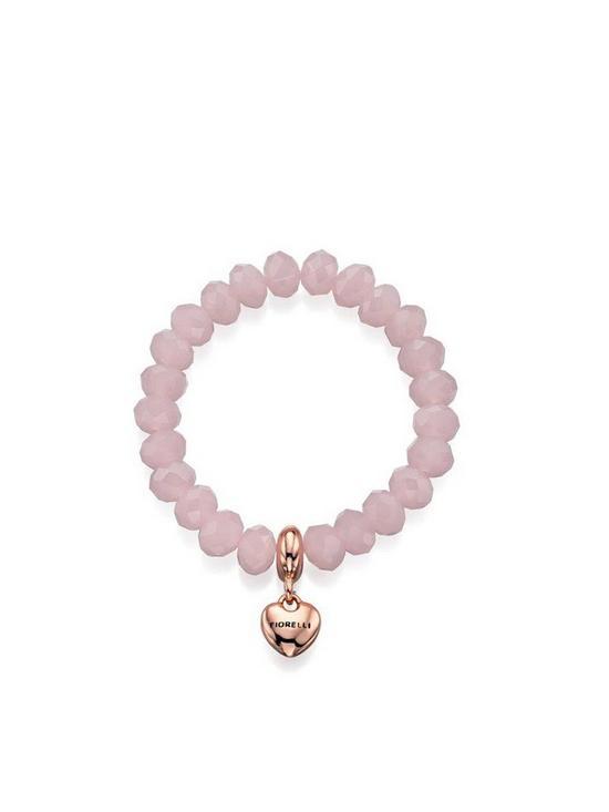 Fiorelli Rose Quartz Glass Bead and Rose Gold Tone Heart Stretch Bracelet 6b6eedf690