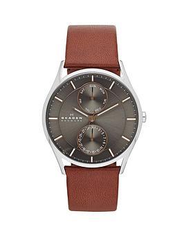 skagen holst brown leather strap mens watch very co uk