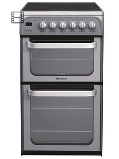 hotpoint-ultima-hue52gs-50cm-double-oven-electric-cooker-graphite