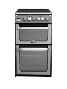 Hotpoint Ultima Hue52Gs 50Cm Double Oven Electric Cooker With Ceramic Hob - Graphite Review thumbnail