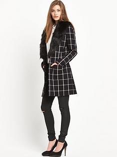 south-check-lightweight-fauxampnbspfur-collar-coat