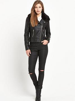 South Faux Fur Leather Look Jacket