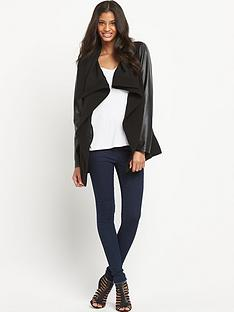 oasis-cara-highnbspdrape-jacket-with-wet-look-pu-sleeves