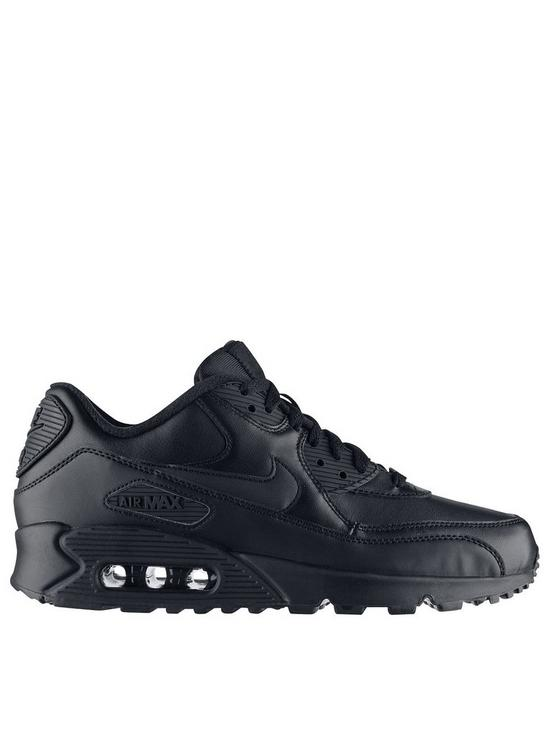 sports shoes 7aaa8 9891b Nike Air Max 90 Leather Trainers - Black Black