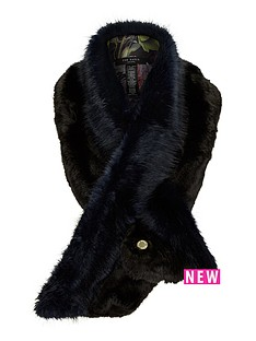 ted-baker-two-tone-faux-fur-scarf-navy