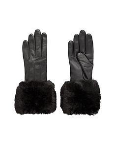 ted-baker-faux-fur-trim-leather-gloves-black