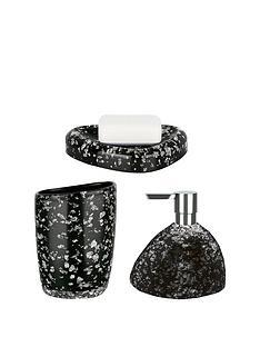 spirella etna set of 3 glitter black bathroom accessories