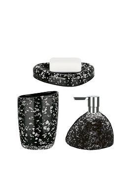 spirella etna set of 3 glitter black bathroom accessories verycouk