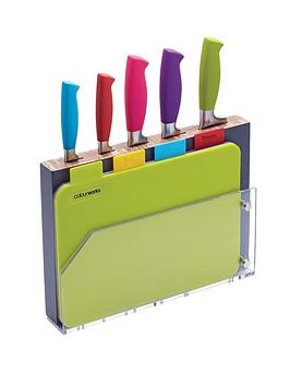 colourworks-9-piece-chopping-board-and-knife-block-set