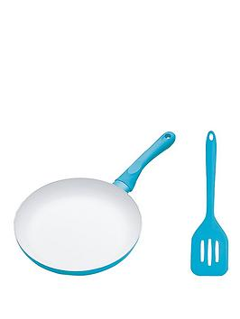 colourworks-24-cm-ceramic-non-stick-frying-pan-and-turner-set-blue