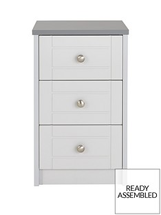 Alderley Ready Assembled 3-Drawer Bedside Chest