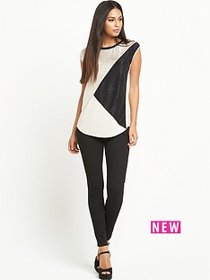 oasis-colour-block-crinkle-shell-top