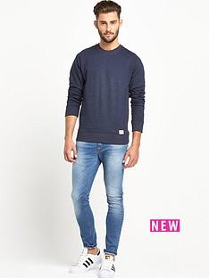 goodsouls-navy-marl-ribbed-raglan-sleeve-sweatshirt
