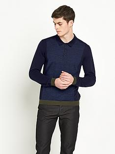 ted-baker-knitted-panelled-long-sleeve-polo-shirt