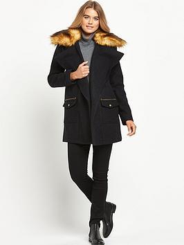 Definitions Faux Fur Collar Drape Coat
