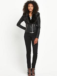 south-faux-fur-collar-leather-look-jacketnbsp
