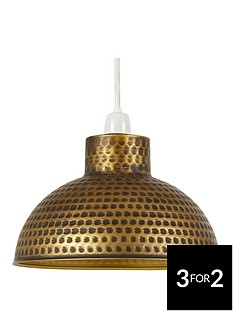 hammered-dome-easy-fit-pendant-in-bronze