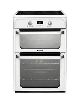 Hotpoint Ultima Hui612P 60Cm Double Oven Electric Cooker With Induction Hob - White Review thumbnail