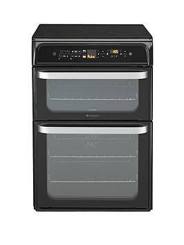 hotpoint-ultima-hui62tk-60cm-double-oven-electric-cooker-with-induction-hob-black