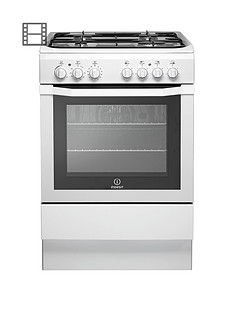 Indesit I6GG1W 60cm Single Oven Gas Cooker - White