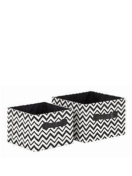 set-of-2-square-chevron-print-totes-blackwhite