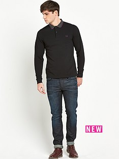 fred-perry-contrast-collar-long-sleeve-polo-top