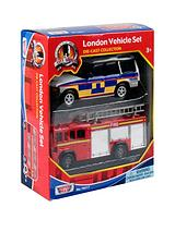 2pc London Vehicle Set (Police and Fire Engine)
