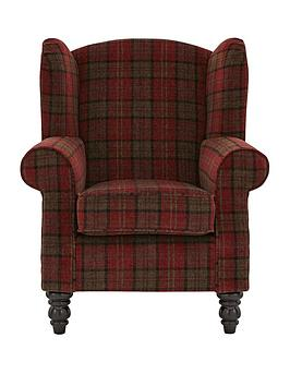 ideal-home-orkney-tartan-patterned-accent-wing-chair