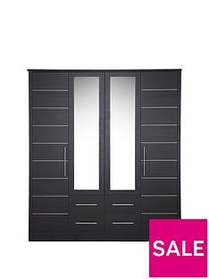 Consort Liberty 4 Door, 4 Drawer Mirrored Wardrobe