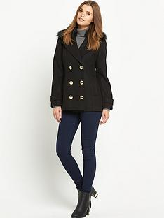 south-petite-faux-fur-collar-reefer-jacketnbsp