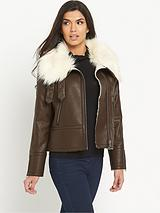 Oversized Faux Fur PU Biker