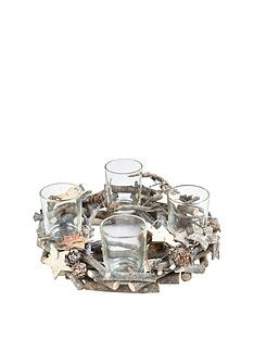 glitter-and-pine-cone-candle-holder-with-4-glasses