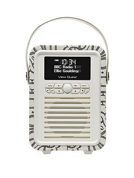 Image of View Quest Emma Bridgewater Retro Mini Dab+ Radio - Black Toast