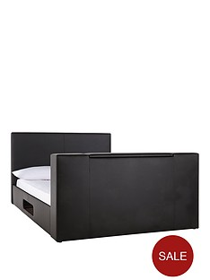talbot-faux-leather-double-tv-bed-frame-with-optional-mattress