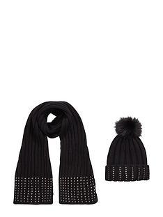 girls-2-pack-embellished-pom-pom-hat-and-scarf-set