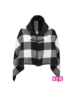 girls-fur-trim-mono-check-cape